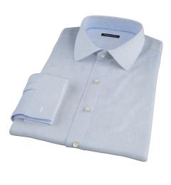 Light Blue Cotton Linen Houndstooth Custom Dress Shirt