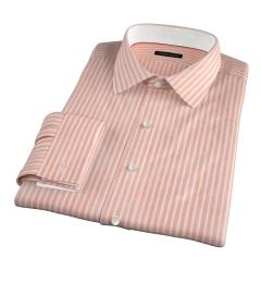 Orange Cotton Linen Stripe Fitted Shirt