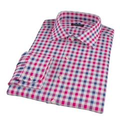 Red and Navy Large Gingham Fitted Shirt