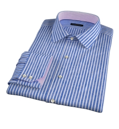 Blue Cotton Linen Stripe Custom Dress Shirt