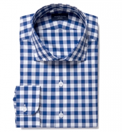 100s Royal Blue Large Gingham Tailor Made Shirt