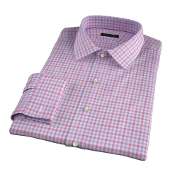 Thomas Mason Red and Lavender Multi Check Fitted Shirt