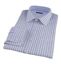 Marine Blue Cotton Linen Stripe Fitted Dress Shirt