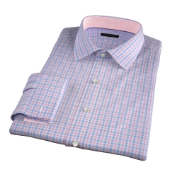 Novara Blue and Hibiscus Check Men's Dress Shirt