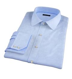 Light Blue Wrinkle-Resistant Rich Herringbone Fitted Shirt
