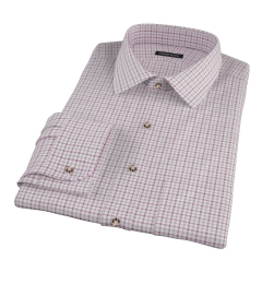 Canclini Scarlet Tattersall Lightweight Flannel Fitted Dress Shirt