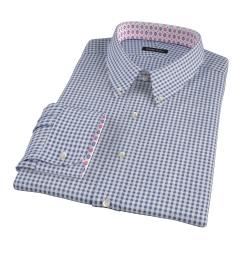 Medium Navy Gingham Men's Dress Shirt