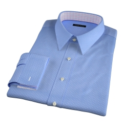 Light Blue Pindot Print Men's Dress Shirt