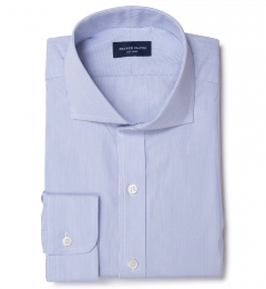 Thomas Mason Blue Fine Stripe Custom Made Shirt