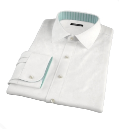 White Wrinkle-Resistant Rich Herringbone Custom Dress Shirt