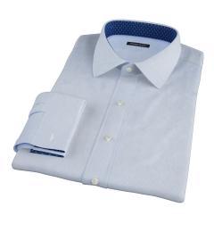 Light Blue Cotton Linen Houndstooth Fitted Shirt