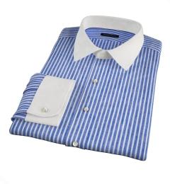 Blue Cotton Linen Stripe Fitted Dress Shirt