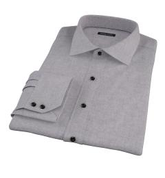 Canclini Grey Herringbone Flannel Dress Shirt