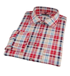 Red Orange Blue Madras Fitted Dress Shirt