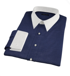 White on Navy Printed Pindot Fitted Shirt