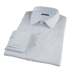 Thomas Mason Light Blue Small Grid Custom Dress Shirt