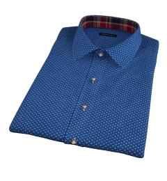 Blue Japanese Flower Print Short Sleeve Shirt
