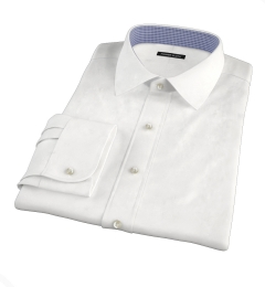 White Wrinkle-Resistant Cavalry Twill Fitted Dress Shirt