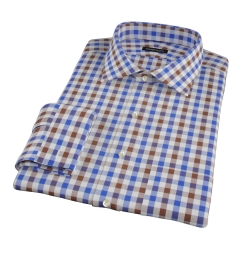 Blue and Brown Large Gingham Fitted Shirt