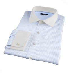 140s Light Blue Wrinkle-Resistant Bengal Stripe Dress Shirt
