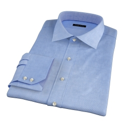 Thomas Mason Blue WR Houndstooth Fitted Dress Shirt