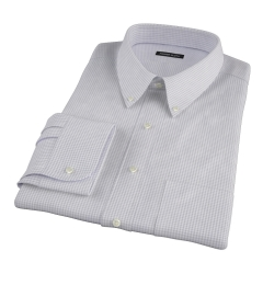 Canclini Grey Mini Gingham Fitted Dress Shirt