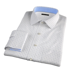 White and Blue Mosaic Print Fitted Dress Shirt
