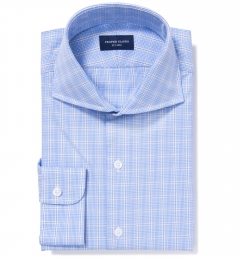 Wrinkle Resistant Blue Prince of Wales Check Custom Dress Shirt