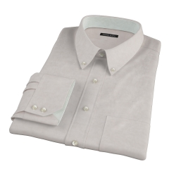 Tan Cotton Linen Oxford Fitted Dress Shirt