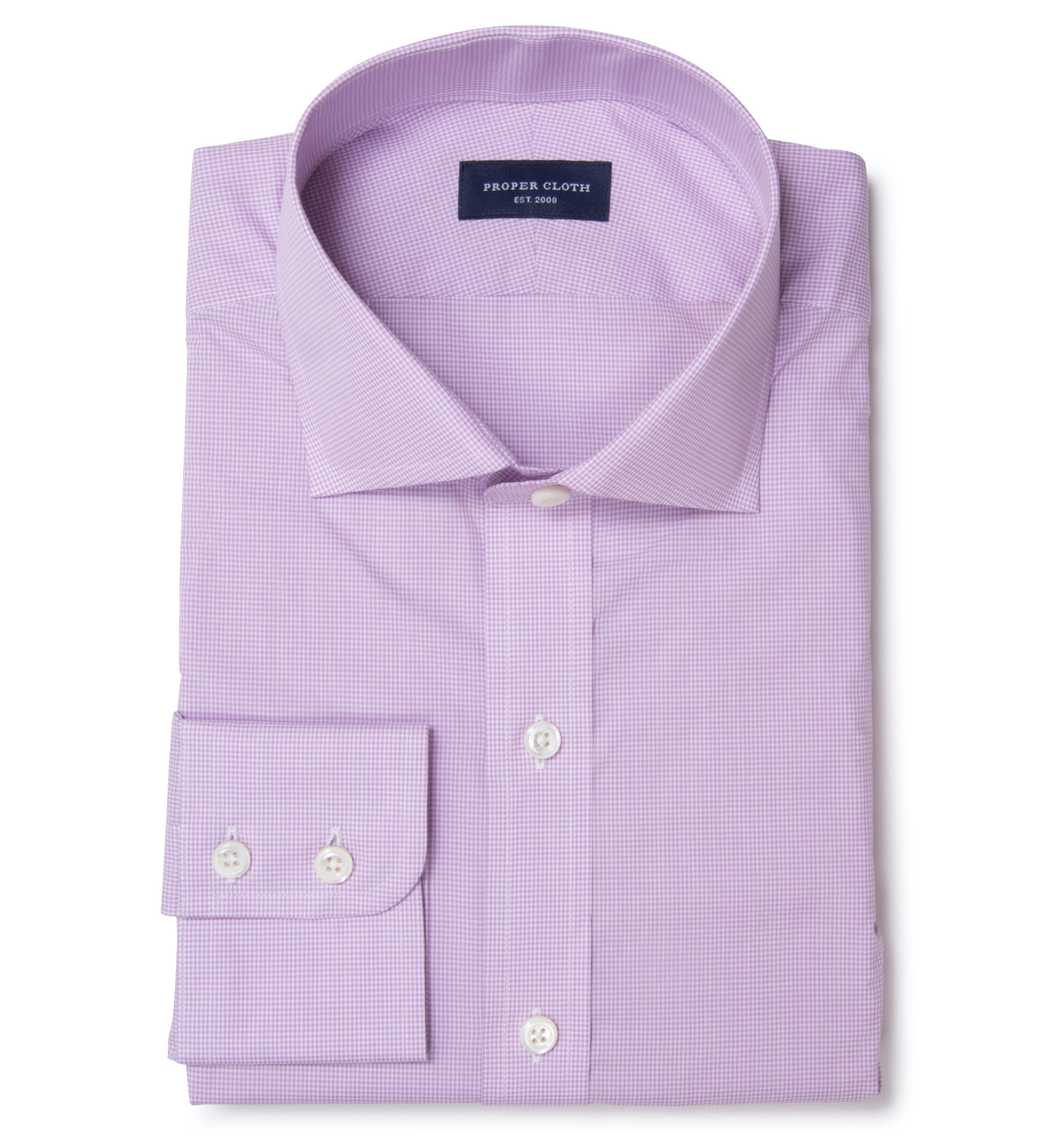Canclini 140s lavender micro check men 39 s dress shirt by for Proper cloth custom shirt price