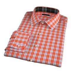 Varick Orange Multi Check Fitted Dress Shirt