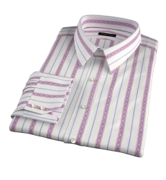 Albini Red Folk Stripe Fitted Dress Shirt