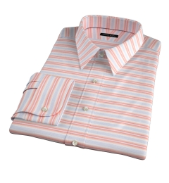 Albini Orange White Horizon Stripe Men's Dress Shirt