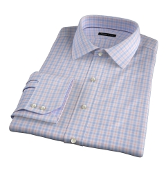 Novara Blue and Orange Check Fitted Shirt