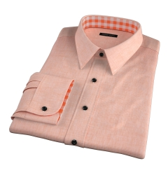 Orange Cotton Linen Houndstooth Fitted Dress Shirt