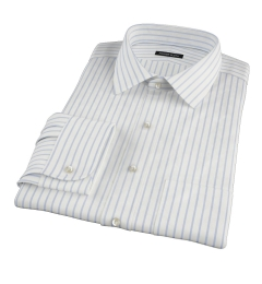 Blue Wide Stripe Fitted Dress Shirt