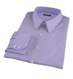 Canclini Purple 120s Multi Gingham Fitted Dress Shirt