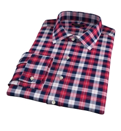 Cascade Scarlet Plaid Flannel Fitted Dress Shirt