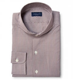 Canclini Brown 120s Mini Gingham Fitted Dress Shirt