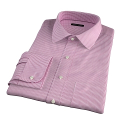 Carmine Crimson Small Grid Men's Dress Shirt