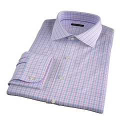Novara Blue and Hibiscus Check Fitted Shirt