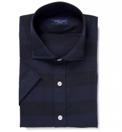 Portuguese Navy Cotton Linen Barre Stripe Dress Shirt