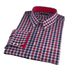 Vincent Crimson and Navy Plaid Men's Dress Shirt