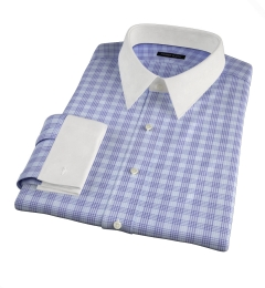 Alassio Blue End on End Check Fitted Dress Shirt