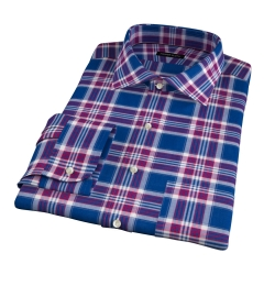 Warren Large Blue Plaid Fitted Dress Shirt