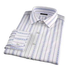 Albini Blue Folk Stripe Dress Shirt