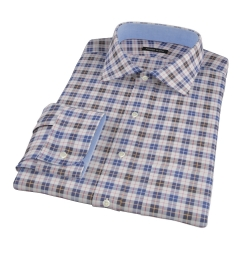 Vincent White Navy Red Plaid Fitted Dress Shirt