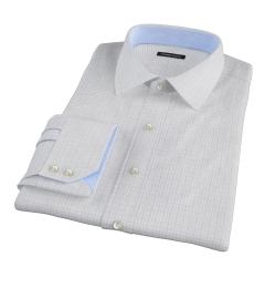 Albini Navy Blue Tattersall Men's Dress Shirt