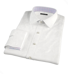White Wrinkle-Resistant Rich Herringbone Custom Made Shirt