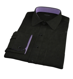 Black Broadcloth Men's Dress Shirt